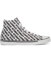 Vetements - White And Black Canvas Logo High-top Trainers - Lyst