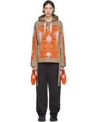 Craig Green Ssense Exclusive Khaki & Cagoule Embroidered Hoodie - Orange