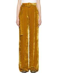 Sportmax Pantalon Palazzo orange en velours - Multicolore