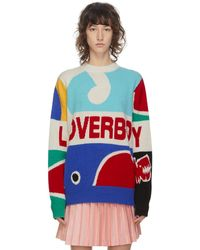 CHARLES JEFFREY LOVERBOY Pull en maille multicolore Logo Graphic - Bleu