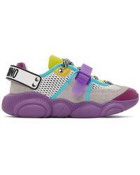 Moschino White & Grey Teddy Roller Skates Sneakers - Multicolour