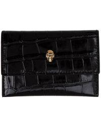 Alexander McQueen Porte-cartes enveloppe embosse facon croco noir