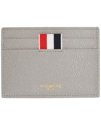 Thom Browne Ssense Exclusive Gray Leather Card Holder