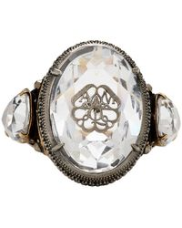 Alexander McQueen Silver Signature Jewelled Ring - Metallic