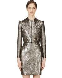 Iris Van Herpen - Pewter Cropped Embossed Leather Jacket - Lyst