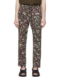 Dries Van Noten Burgundy Floral Drawstring Pants - Multicolour