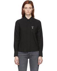 AMI ブラック Ami De Coeur ポケット シャツ