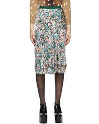 Marc Jacobs グリーン シルク フローラル The 40s スカート