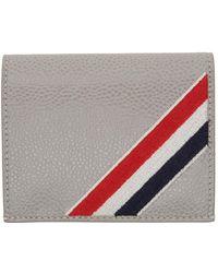 Thom Browne グレー Diagonal Stripe バイフォールド カード ケース
