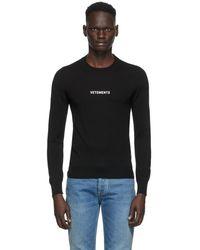 Vetements ブラック メリノ ロゴ クルーネック セーター
