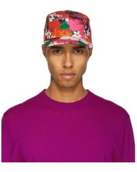 AMI - Red Floral Five-panel Cap - Lyst