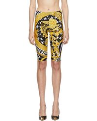 Versace Printed Stretch-jersey Shorts - Yellow