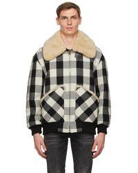 R13 ブラック And オフホワイト Exaggerated Collar ボンバー ジャケット