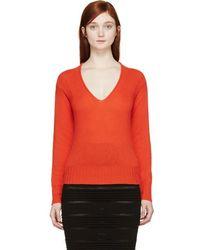 Burberry Prorsum - Orange Cashmere V-neck Sweater - Lyst