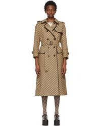 Gucci Beige And Brown GG Supreme Trench Coat - Natural