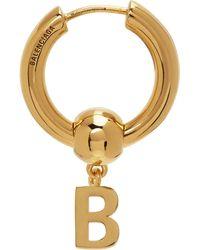 Balenciaga ゴールド Force B シングル ピアス - メタリック