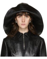 Jil Sander Black Leather Hat