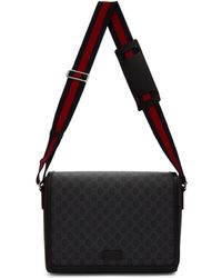 Gucci Black GG Supreme Flap Messenger Bag
