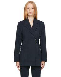 Ganni ネイビー & グリーン ピンストライプ Suit ブレザー - ブルー