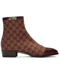 Gucci Burgundy Canvas Original GG Boots - Brown