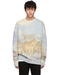 Amiri - Blue And Multicolor Wolves Sweater - Lyst