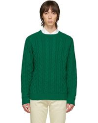 Beams Plus グリーン ケーブル ニット セーター