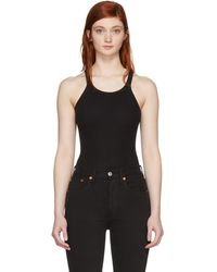 RE/DONE - Black Ribbed Tank Top - Lyst