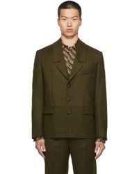 Commission Ssense Exclusive Wool Dropped Collar Blazer - Green