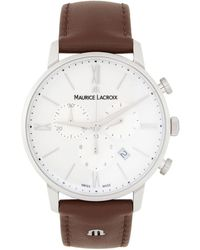 Maurice Lacroix ホワイト And ブラウン Eliros クロノ 腕時計