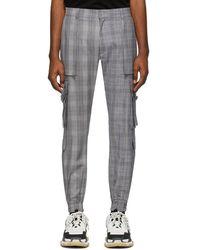 Juun.J Black And White Wool Check Cargo Pants