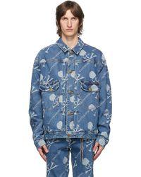 MASTERMIND WORLD ブルー デニム モノグラム ウォーターリペレント ジャケット