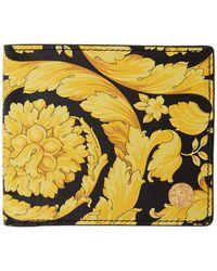 Versace Black And Yellow Barocco Medusa Bifold Wallet
