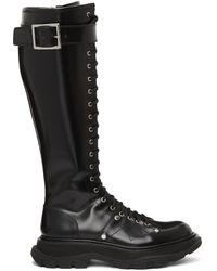 Alexander McQueen Bottes hautes lacées noires Tread Slick