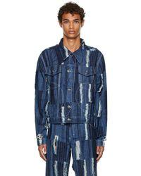 Charles Jeffrey LOVERBOY Distressed Awol Denim Jacket - Blue