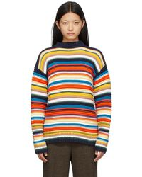 Victoria, Victoria Beckham マルチカラー ストライプ Crochet セーター - ブルー