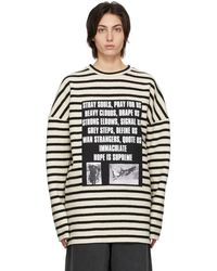 Raf Simons Peter De Potter エディション オフホワイト & ブラック ストライプ Patches セーター