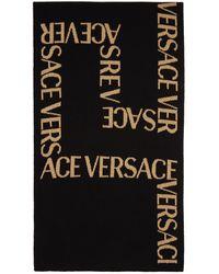 Versace ブラック & ゴールド Greca Jacquard マフラー