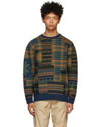 Beams Plus マルチカラー ジャカード パッチワーク セーター - グリーン