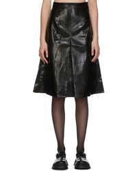 ShuShu/Tong ブラック フェイクレザー クロコ シングル プリーツ スカート