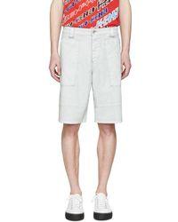 KENZO Gray Coated Cargo Shorts - White