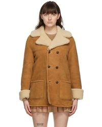 Gucci タン & ベージュ カーリー シアリング ダブルブレスト コート - ブラウン