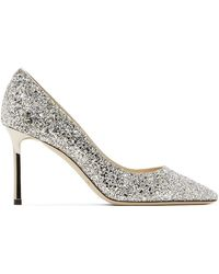 Jimmy Choo Silver Coarse Glitter Romy 85 Heels - Metallic