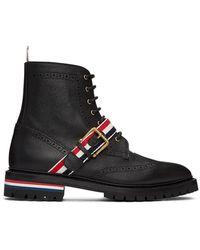Thom Browne ブラック ストラップ ウィングチップ ブーツ