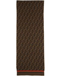 Fendi Brown And Black Cashmere Forever Scarf