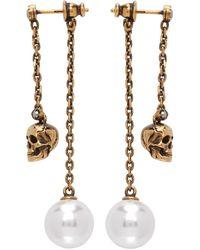 Alexander McQueen Gold Skull Pearl Chain Drop Earrings - Metallic