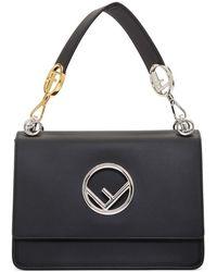 Fendi Kan I F Medium Leather Shoulder Bag - Black