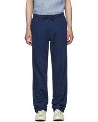 Onia Pantalon en lin bleu Collin
