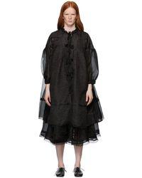 Renli Su Mulberry Silk Lace Up Coat - Black