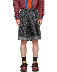 Versace グレー シルク モノグラム ショーツ