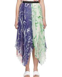 Marina Moscone Multicolor Plisse Skirt - Blue